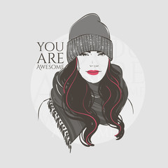 Beautiful woman with long hair in winter clothes, scarf and hat, hand drawn line vector fashion illustration.