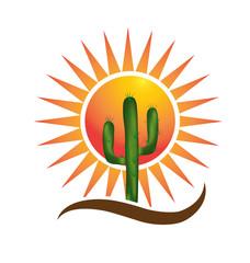Sun and cactus logo