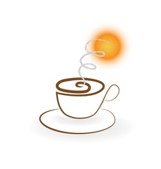 Swirly cup of coffee logo vector