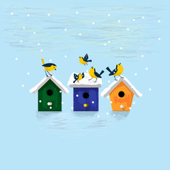 Winter illustration. Happy birds with colorful snow covered nesting boxes. Vector  birdhouse. Christmas and  New Year postcard.