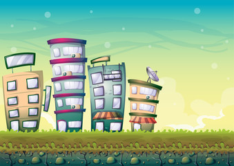 cartoon vector building background with separated layers for game art and animation game design asset in 2d graphic