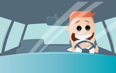 funny cartoon man driving a car