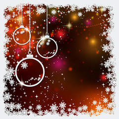 Christmas and New Year vector background with white paper balls, stars and snowflakes