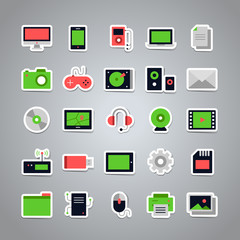 Set of 25 vector stickers with flat multimedia icons