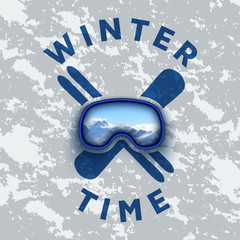 vector clipart on the theme of winter sports. logo of snowboarding and skiing