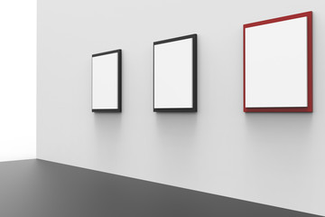 Gallery minimal display and museum three picture frame exhibition Design Art on background