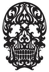Tattoo Skull illustration in art nouveau style