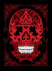 Tattoo Skull illustration in art nouveau style in decorative frmane