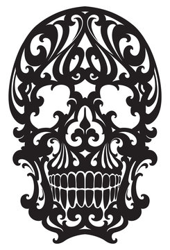 Tattoo Skull illustration in art nouveau style