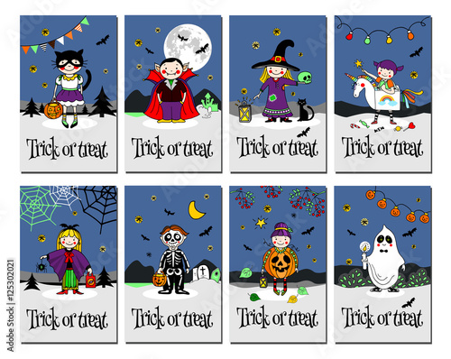 Trick or treat cards invitation or greeting cardshand drawn vector trick or treat cards invitation or greeting cardshand drawn vector illustration m4hsunfo