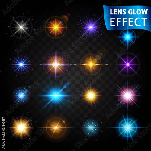 Big Set Of Light Effects On A Dark Background Transparent The