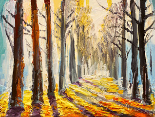 oil painting, autumn forest, impressionism art
