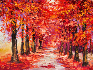 Papiers peints Rouge traffic Oil painting, colorful autumn trees, impressionism art