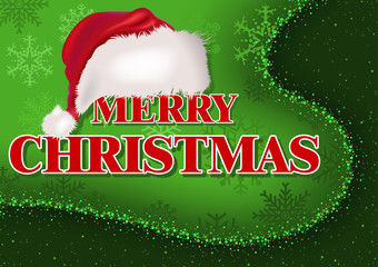 Merry Christmas Greeting Card with Santa Cap over Green Divided Background with Sparkling Effect - Illustration, Vector
