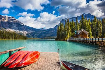 Brilliant red kayaks dry upside down