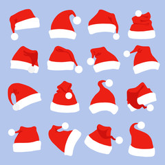 Set of santa hats for christmas party. Red santa claus hats icon isolated on blue background.