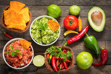 Mexican food - salsa with tortilla chip
