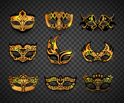 Carnival mask isolated on transparent background. Realistic face mask icon set vector illustration.