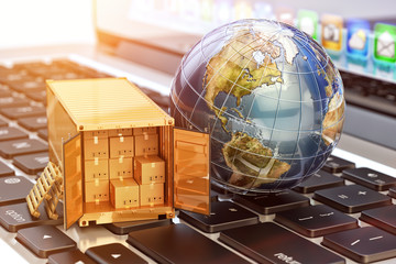 Internet shopping and e-commerce, package delivery concept, global freight transportation business, cargo container with cardboard boxes and Earth globe on laptop