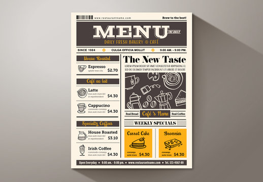 Newspaper Café Menu