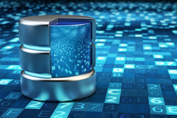 Remote data storage, cloud computing, network data server and computer technology concept, metallic database on blue background with digital code