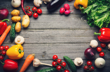 Vegetable background with copy space