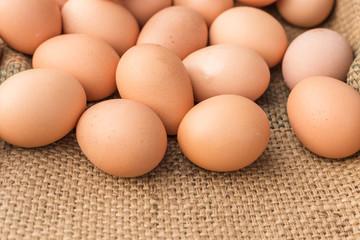 Fresh Egg With Burlap Sack