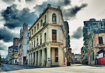 View of Havana street with typical architecture and colonial bui