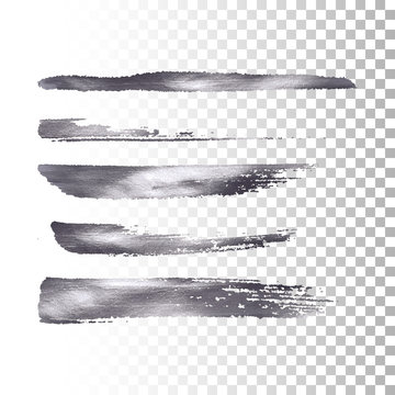 Silver metallic paint brush stroke set.