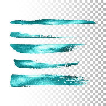 Azure metallic paint brush stroke set.