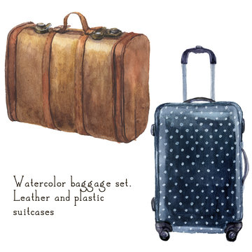 Watercolor baggage set including leather vintage suitcase and polka dot suitcase. Hand painted illustration isolated on white background. For design, textile and background.