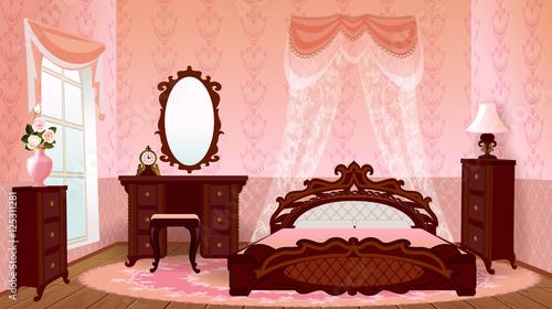 Interior Bedroom In Italian Old Style Vintage Cartoon House Room