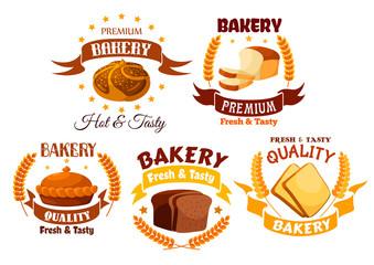 Bakery shop product labels set