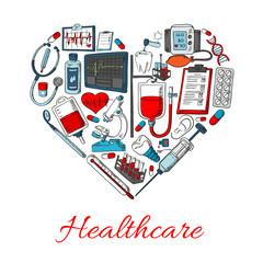 Healthcare icons in shape of heart