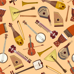 Vector musical pattern with musical instruments