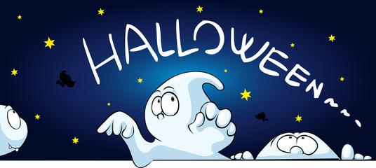 horizontal halloween banner with cute ghost peeking - vector cartoon illustration