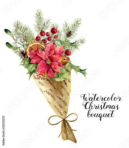 Watercolor Christmas Bouquet Vintage Floral Composition With