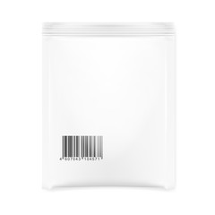 White Blank Foil Pouch Packaging For Salt, Sugar, Sachet With Barcode