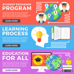Student exchange program, learning process, education for all flat illustration concepts set. Flat design graphic for web banners, printed materials, web site, infographics. Modern vector illustration