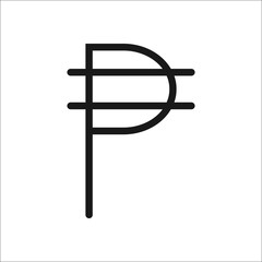 Peso symbol line icon on background