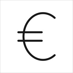 Euro symbol line icon on background