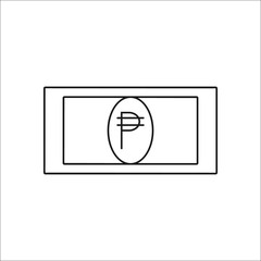Peso symbol line icon on background