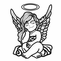 Angel thinking cartoon illustration