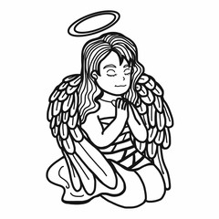 Angel prayer cartoon illustration black and white