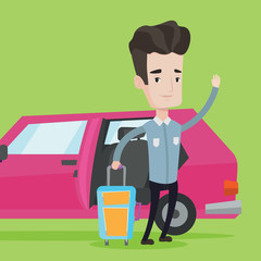 Caucasian man traveling by car vector illustration