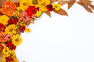 Image made of flowers and leaves.