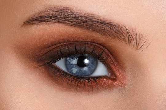 Brown smokey. Blue eyes. Eye makeup. Beautiful eyes make-up. Holiday makeup detail. Long eyelashes. Close-up shot of female eye make-up in smoky eyes style