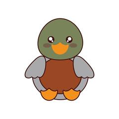 cute duck kawaii style vector illustration design