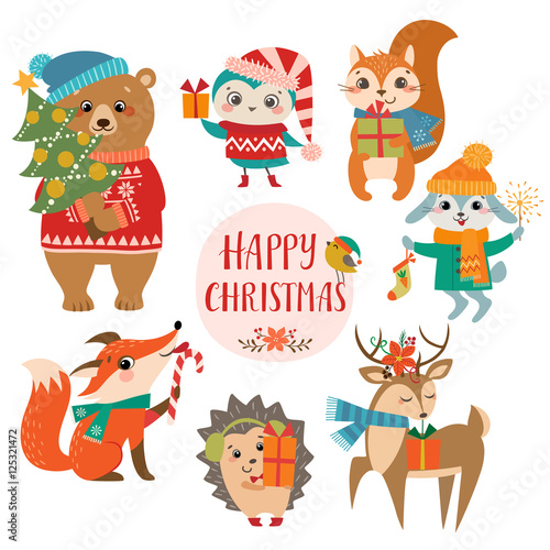 set of cute forest animals with christmas presents