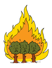 forest fire - burning forest trees in fire flames wildfire vector illustration